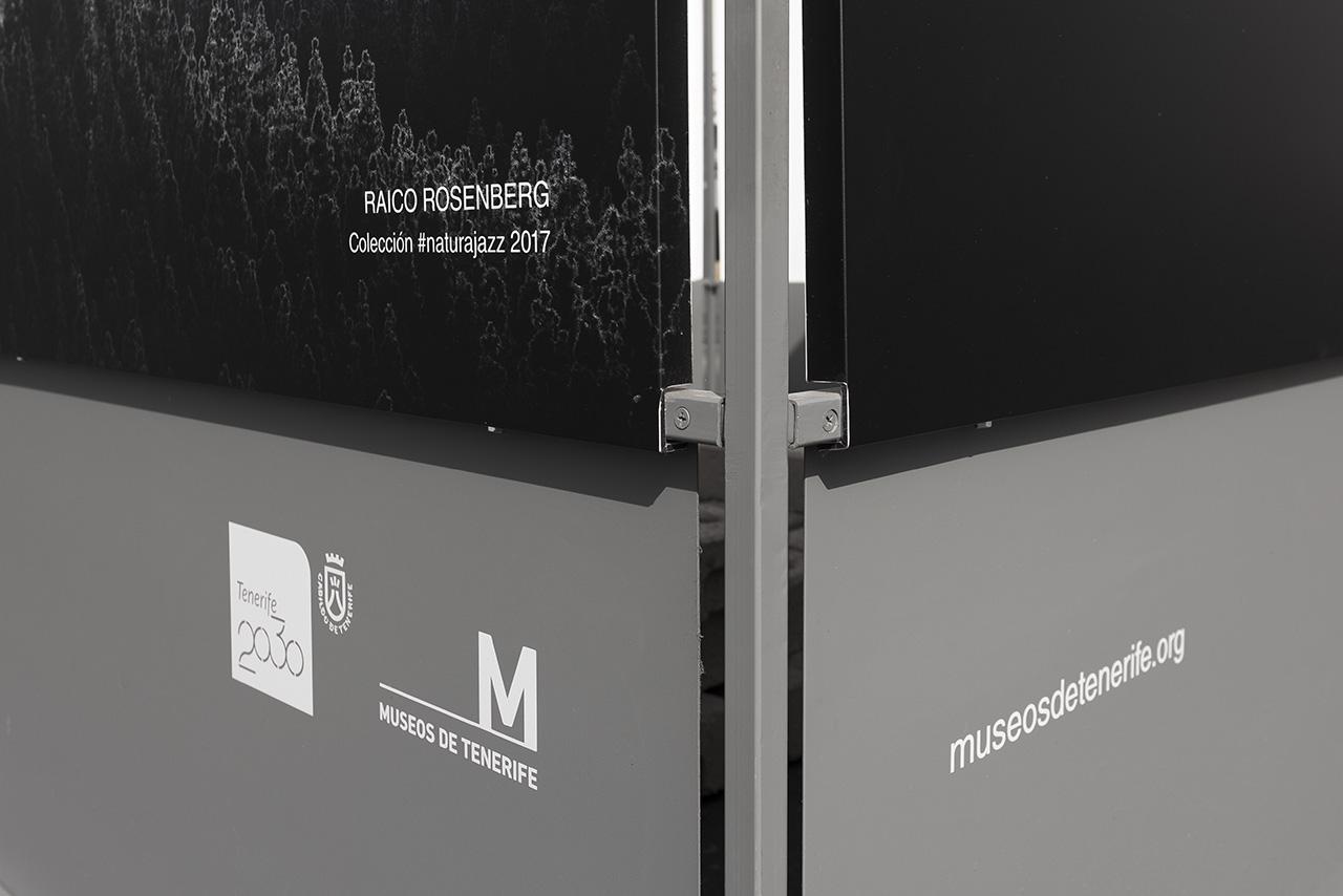 Detalle de cubos de la exposición #Naturajazz 2018