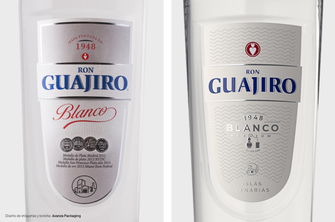 Rediseño de etiquetas de Ron Guajiro Blanco