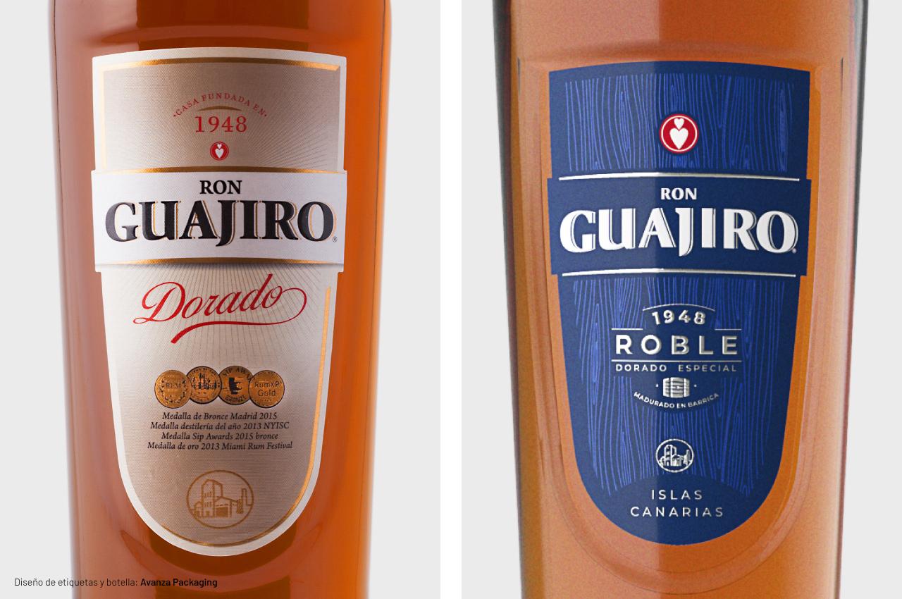 Rediseño de etiquetas de Ron Guajiro Roble