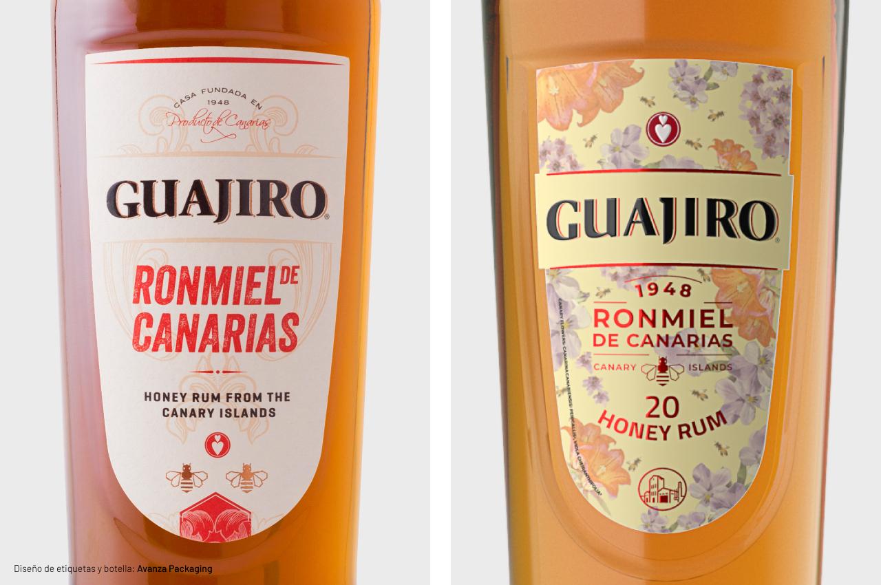 Rediseño de etiquetas de Ronmiel Guajiro 20