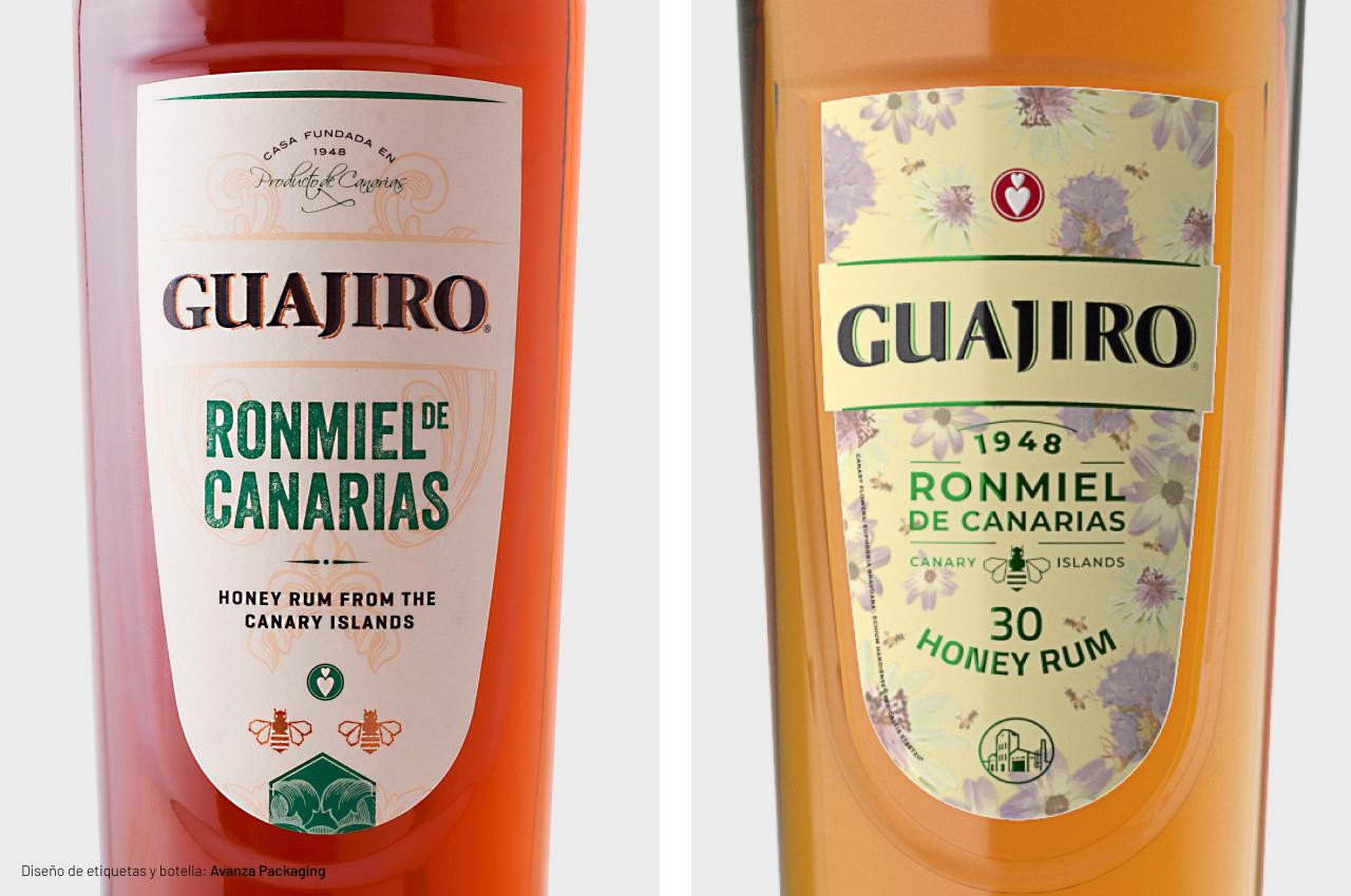 Rediseño de etiquetas de Ronmiel Guajiro 30