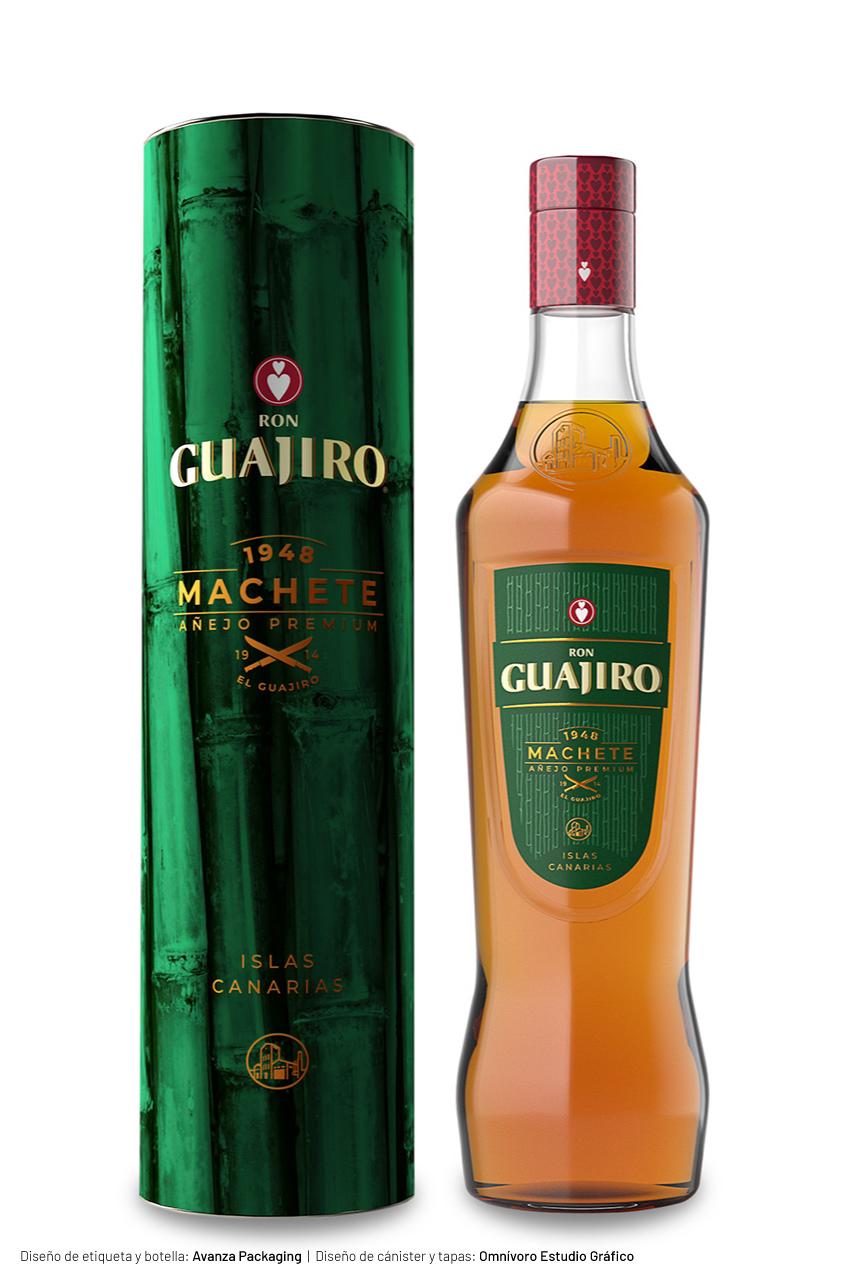 Cánister y Botella de Ron Guajiro Machete
